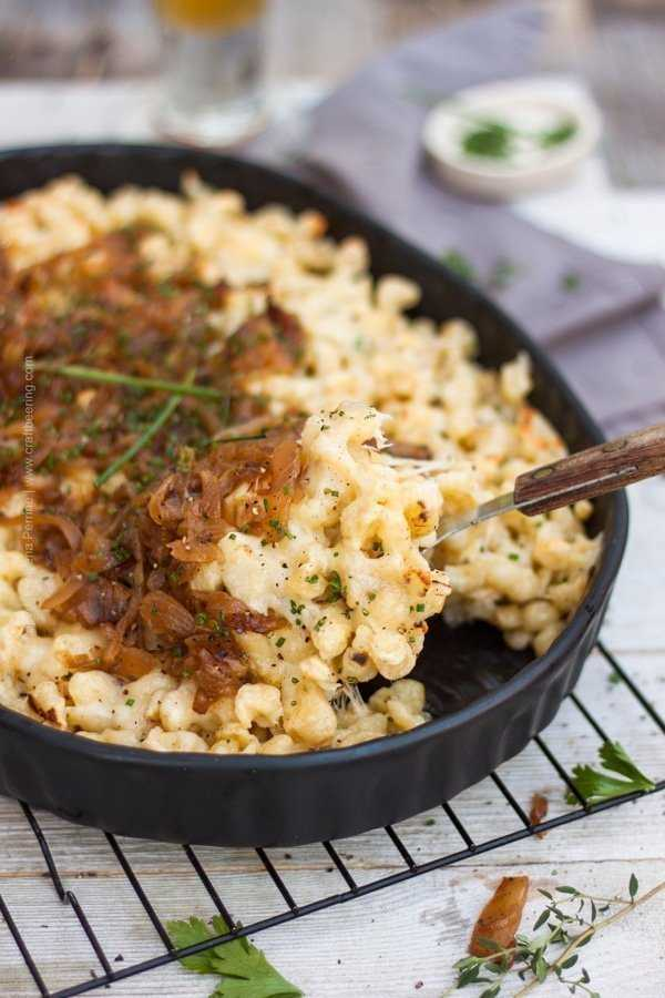 Kasespatzle with sauteed onions and chives.