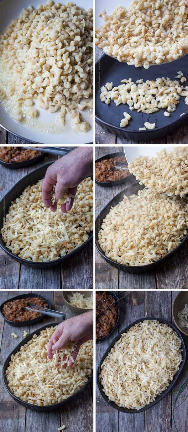 Steps to browning the spatzle in butter and layering the Kasespatzle in a casserole dish.