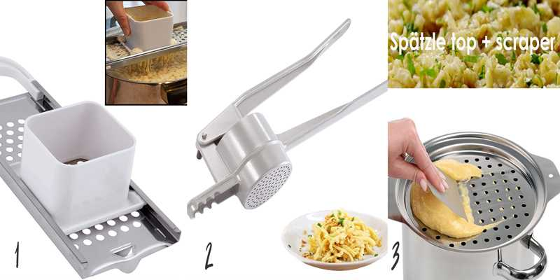 Three different types of frequently used spatzle makers