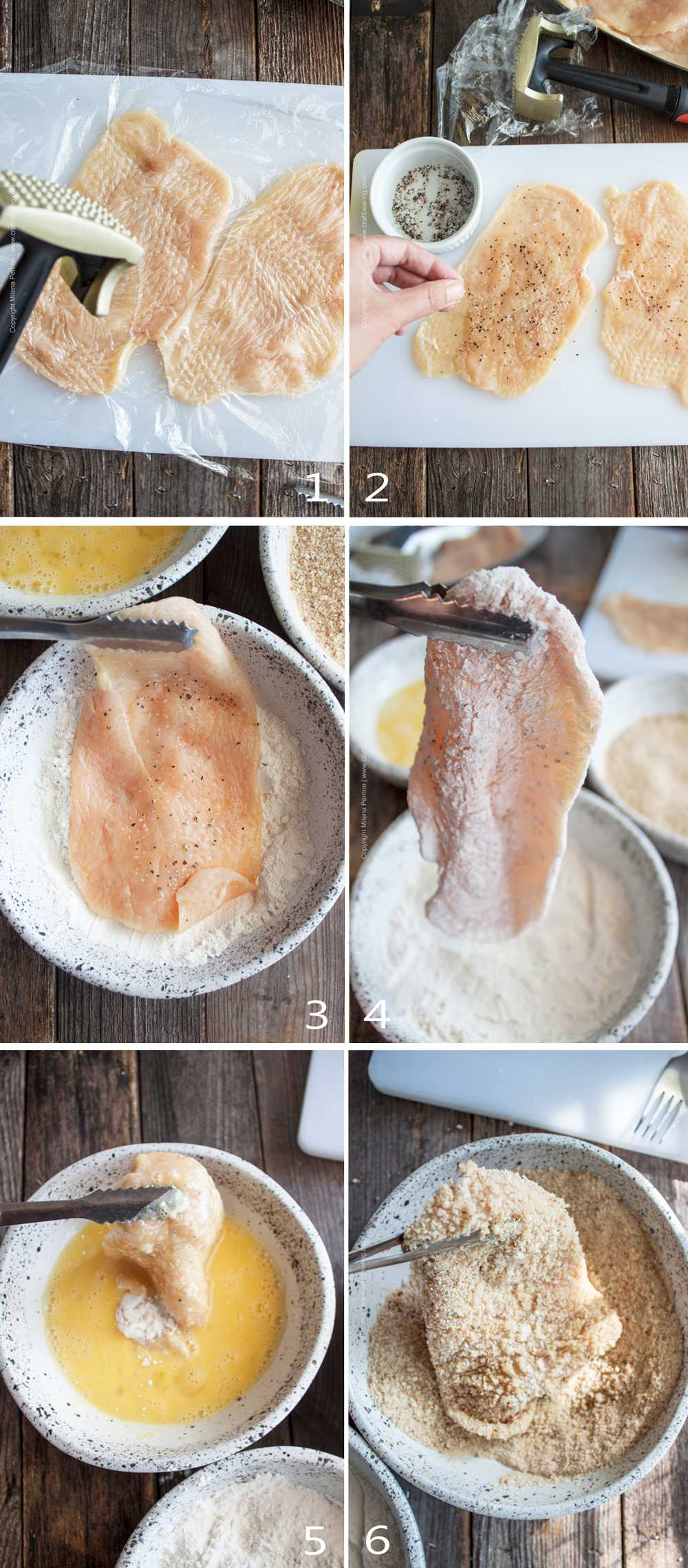 How to make schnitzel, step by step image grid