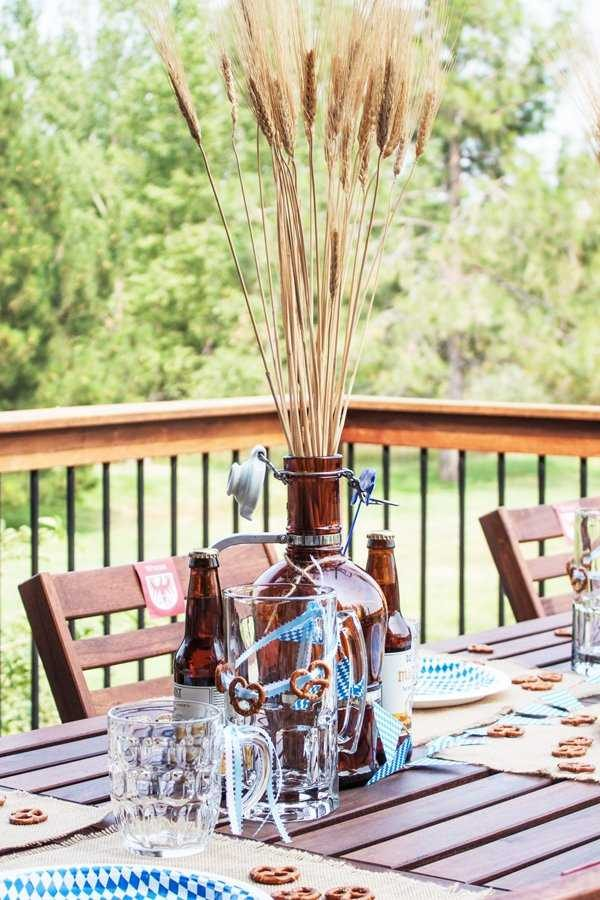 Oktoberfest themed tablescape with Marzen beer at the ready!