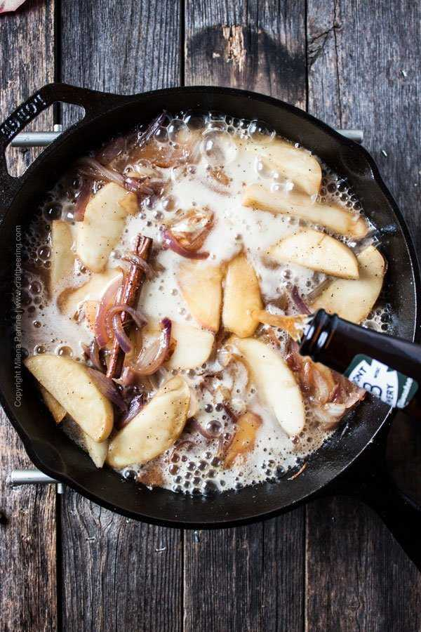 Add pumpkin ale (or apple cider) to deglaze skillet. and become the basis of a beautiful sauce.