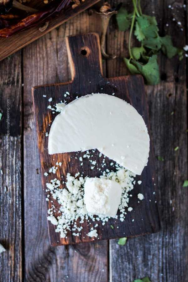 Mexican Cotija cheese - salty, crumbly and perfect as a garnish to salsas, tacos, grileld veggies.