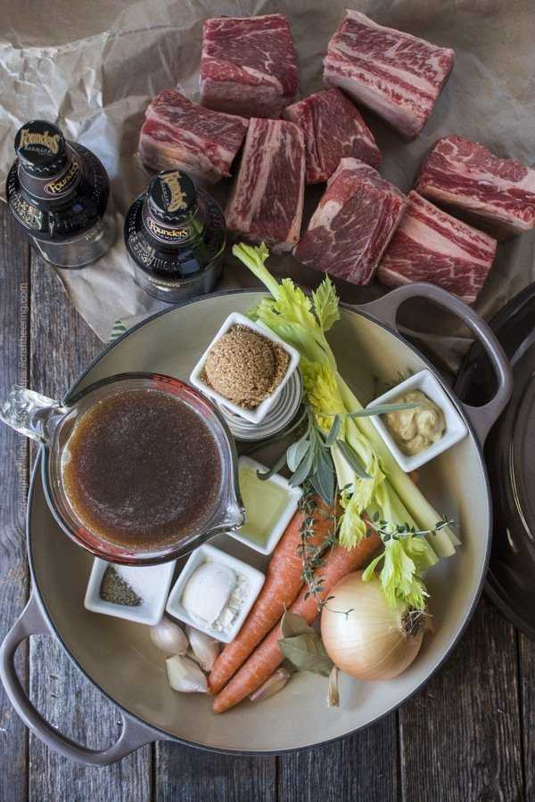 Ingredients for beer braised short ribs