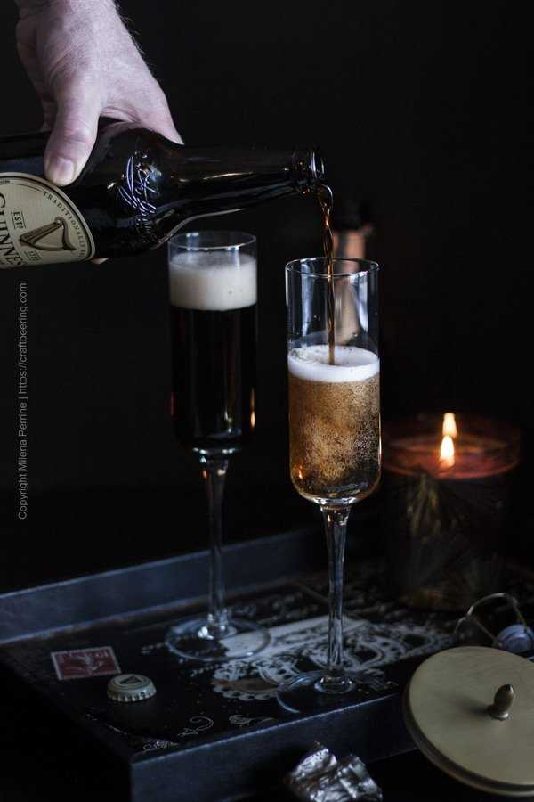 Pour stout over the sparkling wine - the two will blend instantaneously into a Black Velvet cocktail.