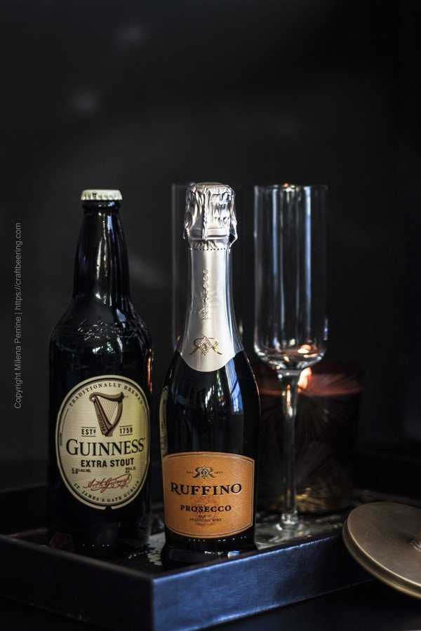 Ingredients for Black Velvet - stout and white sparkling wine.