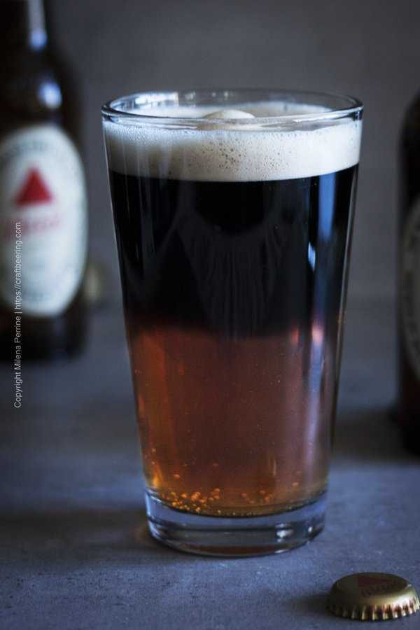 Black and Tan beer in a regular pint glass