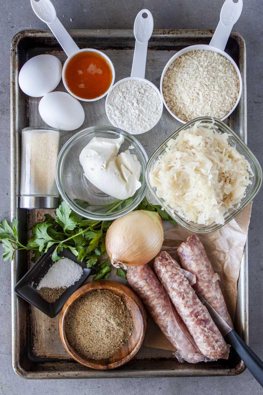 Raw ingredients for sauerkraut balls with bratwurst.