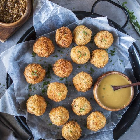 Sauerkraut balls with beer mustard and honey mustard.