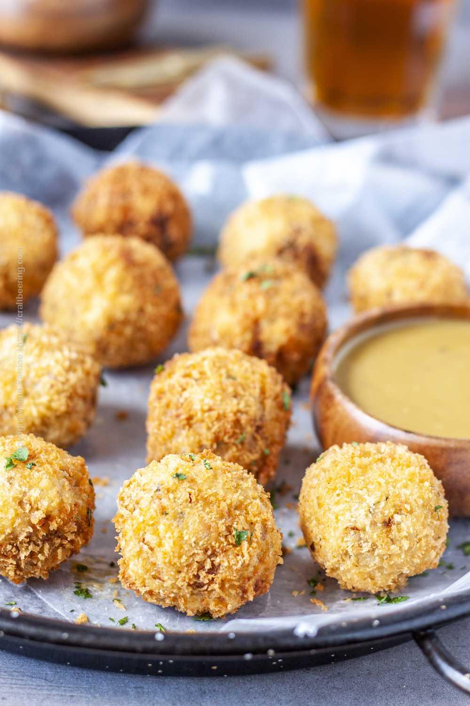 Crispy, panko coated sauerkraut balls.