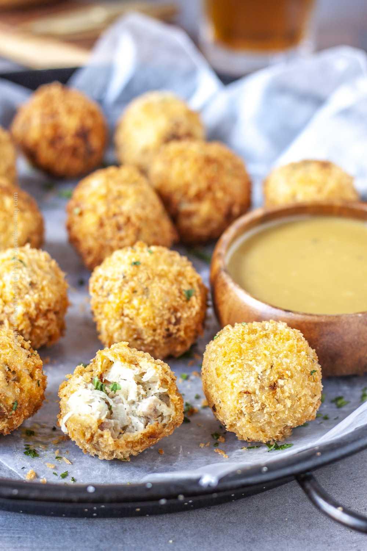 Sauerkraut balls served with honey mustard dip.