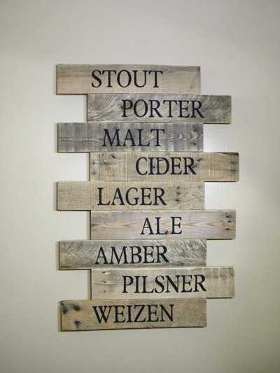 Craft beer sign made of reclaimed wood