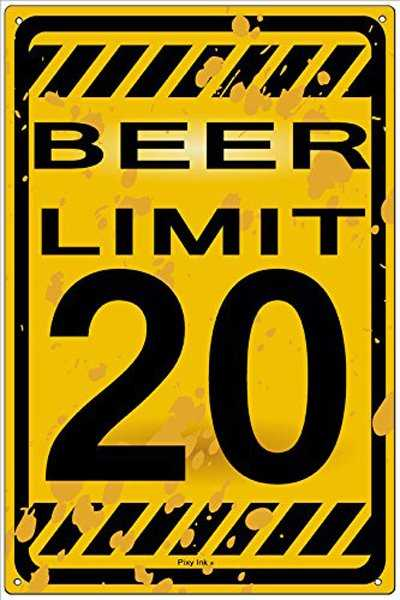 Beer Limit metal beer sign for wall decor.