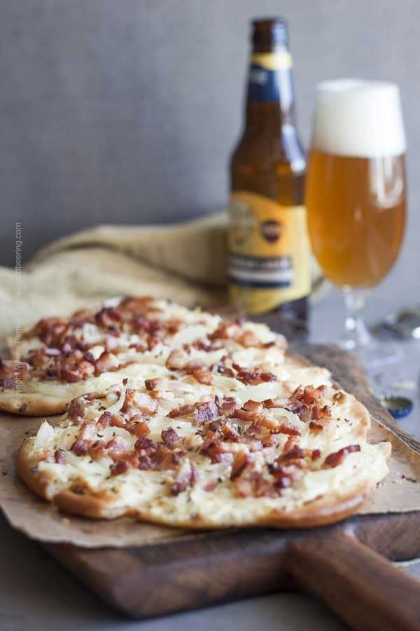 Tarte Flambee aka Flammkuchen paired with a Bavarian lager