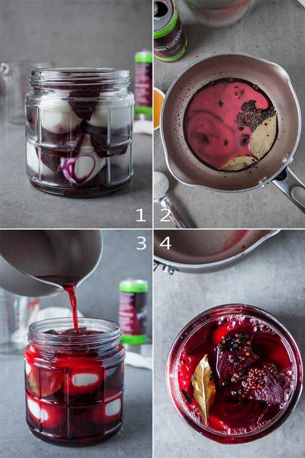 Step by step process of how to make pickled eggs and beets.
