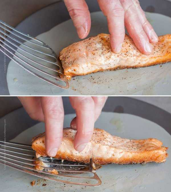 To remove the salmon skin from pan seared fillet slide a fish spatula in between the skin and flesh and gently push forward.