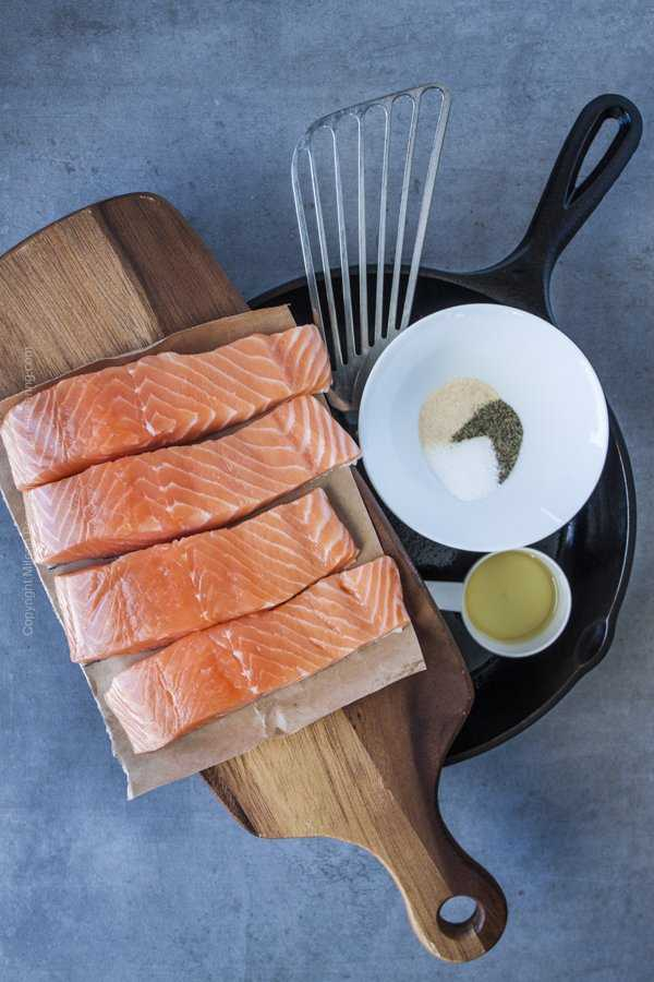 Pan seared salmon essentials - high quality salmon, heavy pan or skillet, fish spatula, seasoning and a bit of olive oil for the pan.