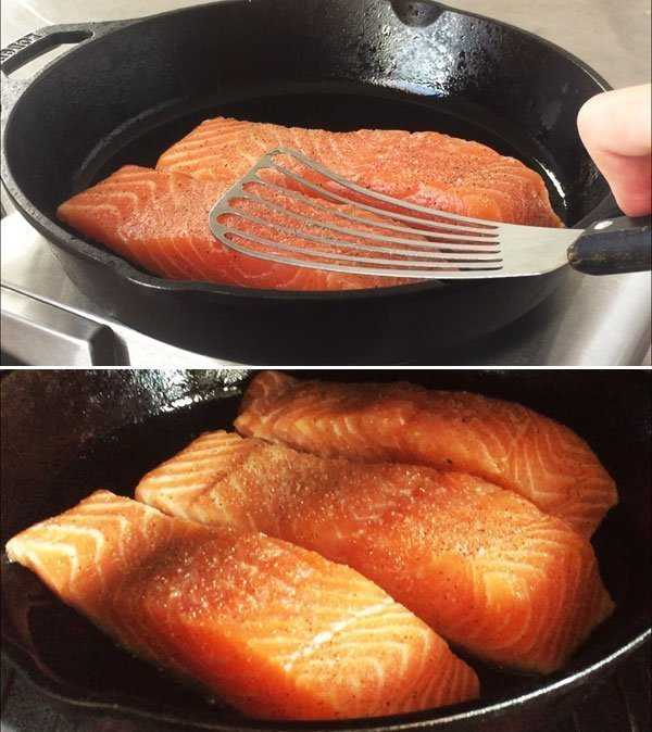 Pan seared salmon fillets - press down with spatula during first 10 seconds and finish in oven for even cooking.