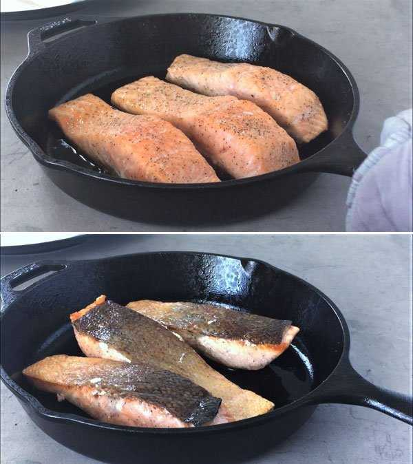 Pan seared salmon in cast iron skillet - flip skin side up to give the top flesh some color.