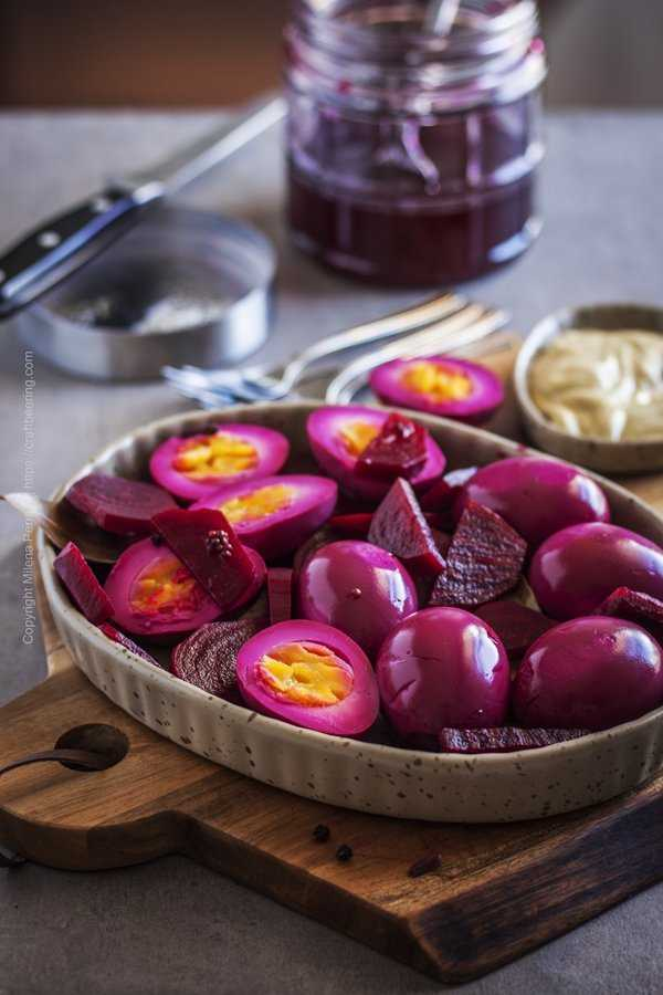 Pickled eggs and beets - sliced and served with a side of mustard.