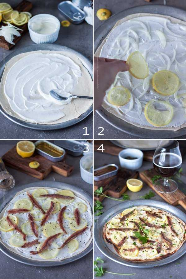 Step by step image grid showing the process to make anchovies pizza with lemon slices.