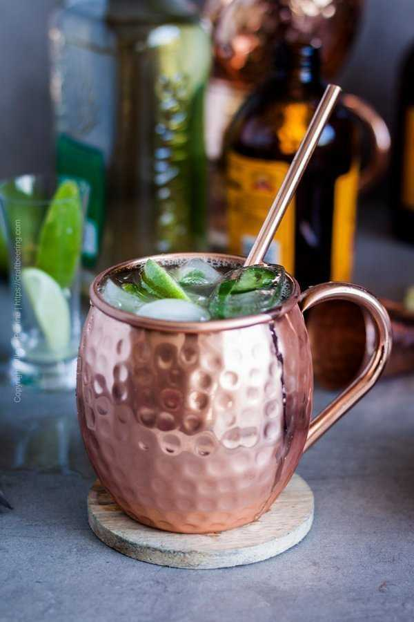 Mexican inspired twist on the Moscow mule - tequila mule with and jalapeno ice cubes.