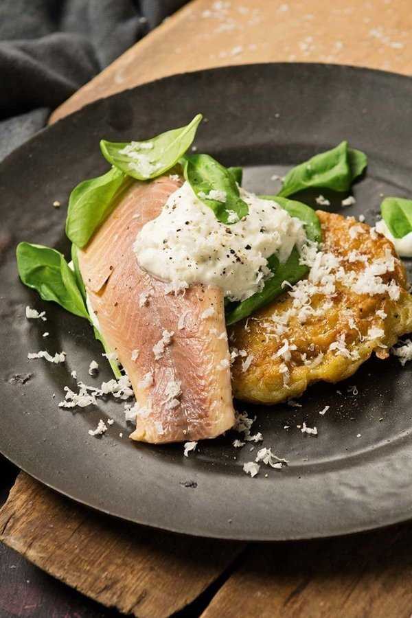 Räucherforelle aka smoked trout is very popular as an appetizer in Germany. Here served over crispy potato cake.
