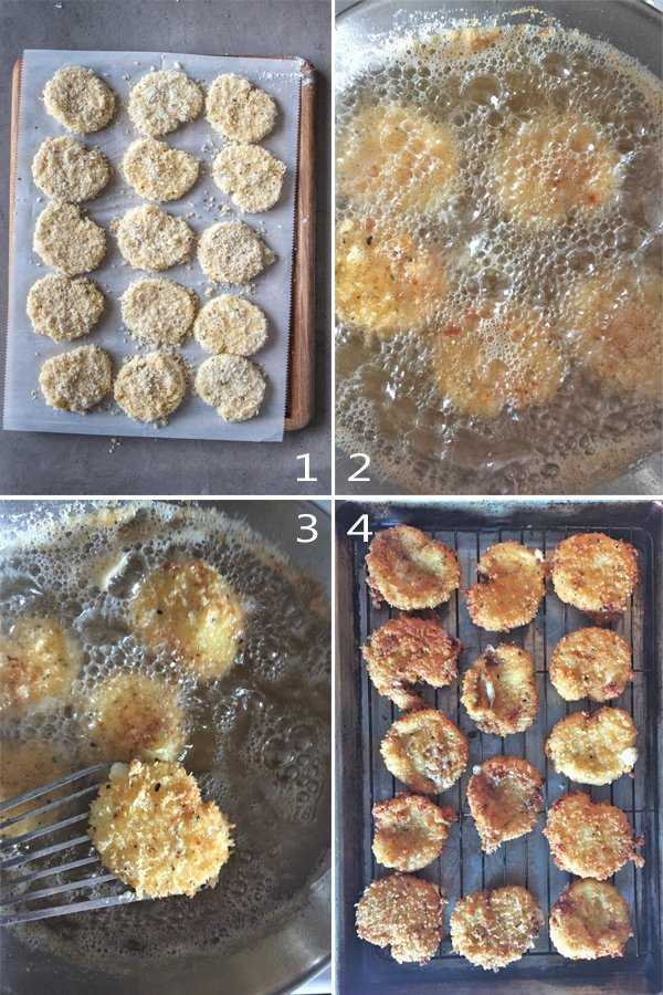 Image grid showing how to pan fry the breaded mozzarella slices