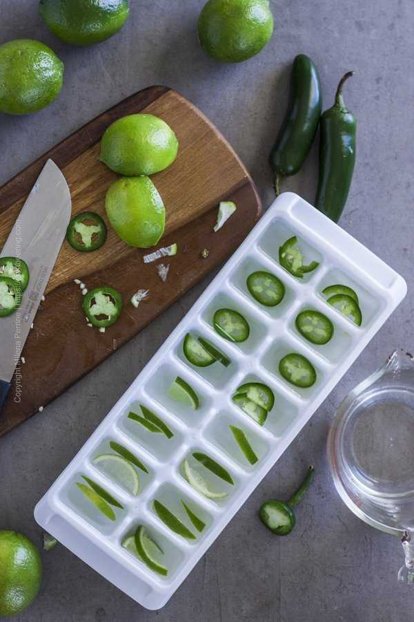 Jalapeno and lime ice cubes for Mexican mule.