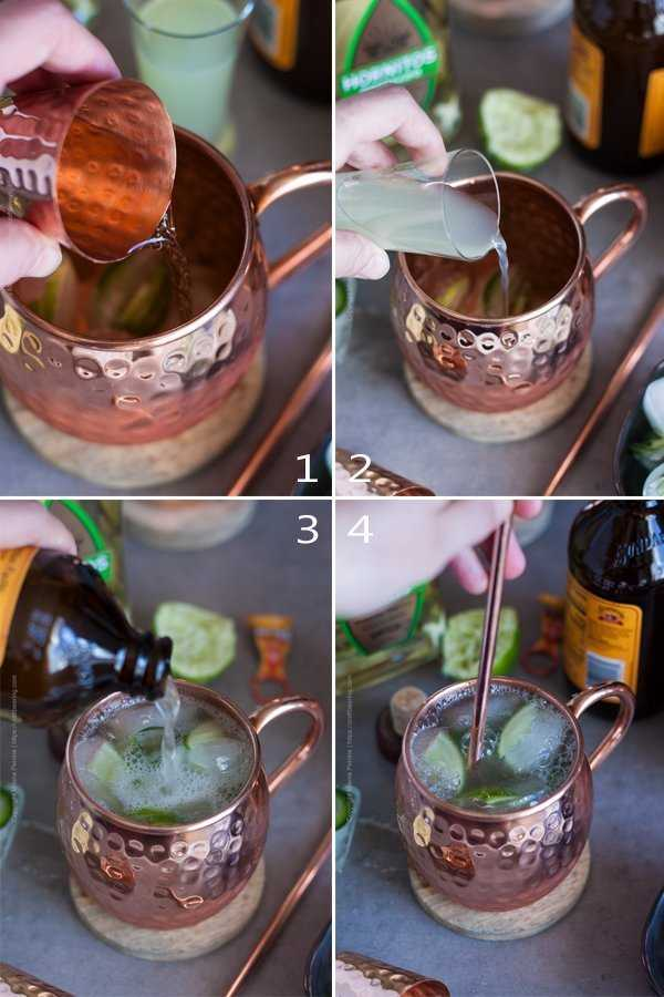 Step by step image grid showing how to mix a Mexican mule - add tequila, lime juice and ginger beer to a jalapeno ice cubes filled copper mug. Stir before enjoying.