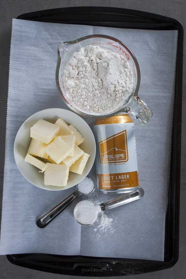 Ingredients for easy beer biscuits - flour, butter, baking powder, salt and of course beer.