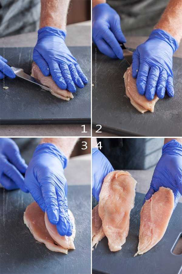 Step by step demonstration of how to fillet a raw chicken breast into cutlets.
