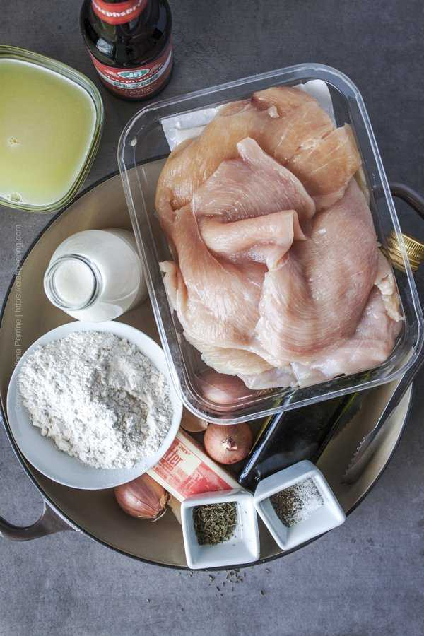 Ingredients for chicken cutlets in creamy sauce.