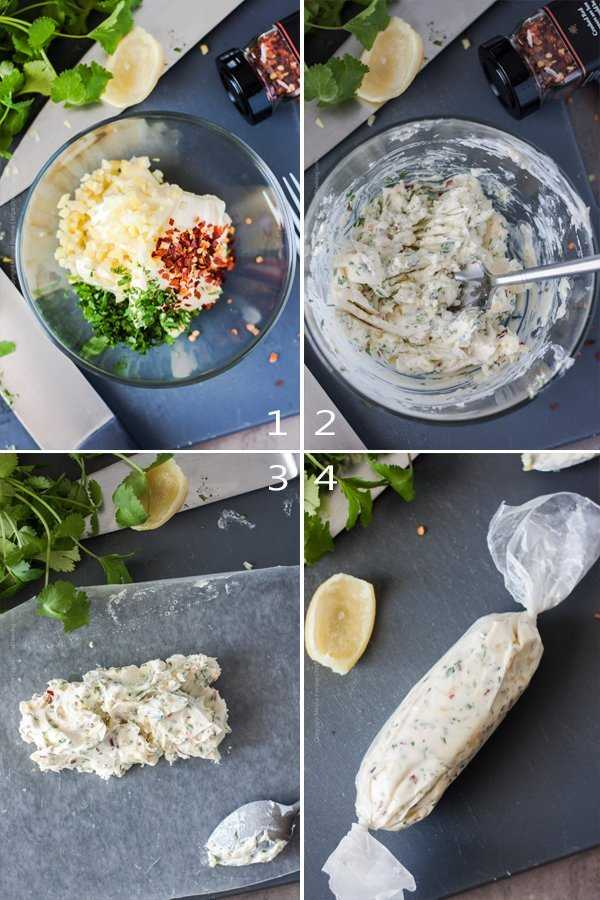 Image grid tutorial showing the steps to make preserved lemons compound butter
