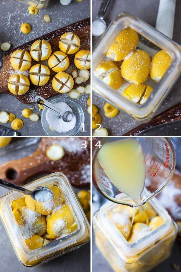 Quartered preserved lemons in the making - packing into a jar with salt and topping with lemon juice.