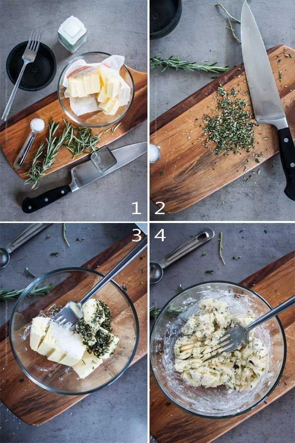 Image grid showing the steps to make rosemary compound butter