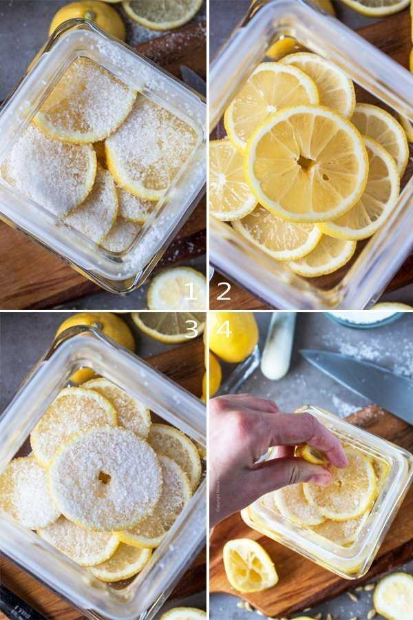 Sliced preserved lemons in the making - layering thin slices with salt and topping with freshly squeezed lemon juice.