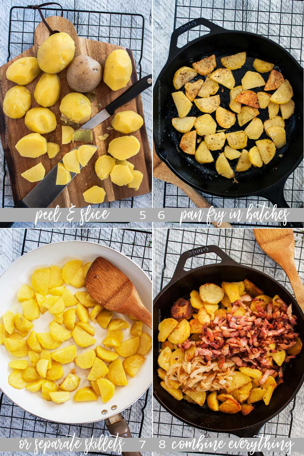 How to prepare German fries with bacon and onion - 2