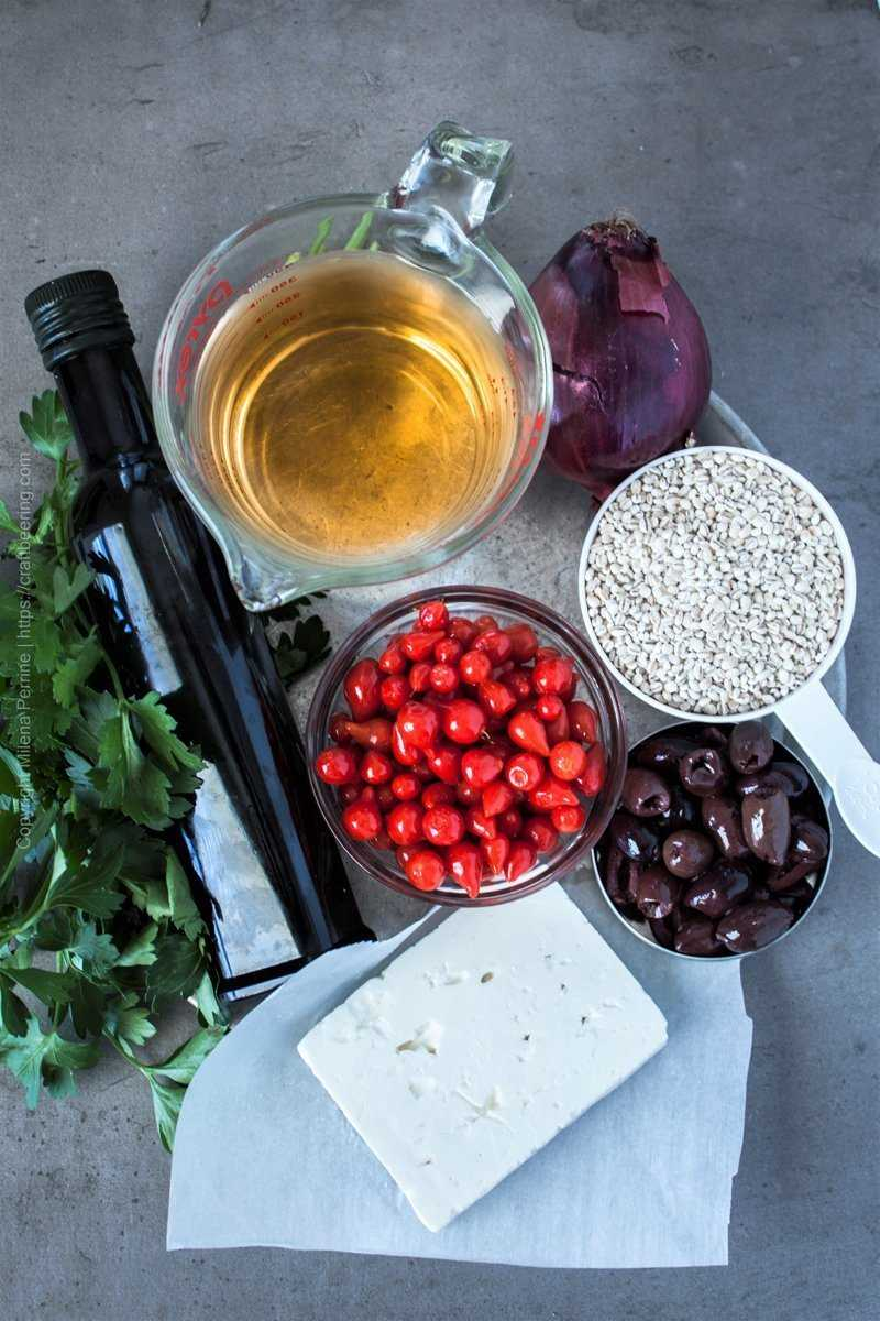 Ingredients to make a Mediterranean barley salad.