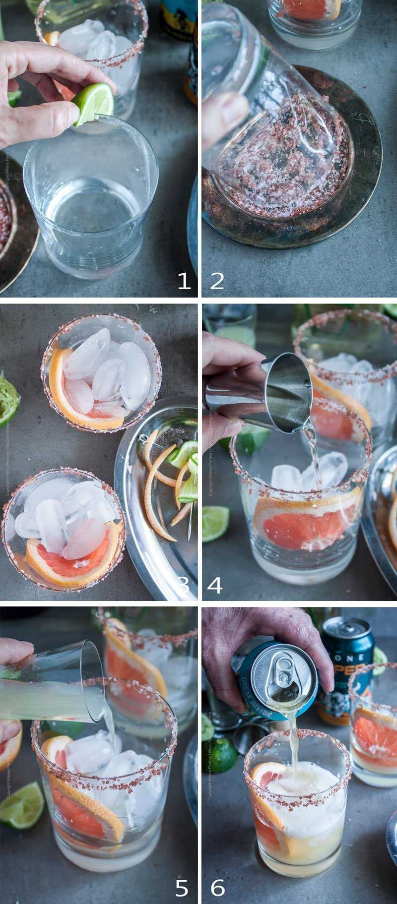 Steps to mix a Paloma with grapefruit beer