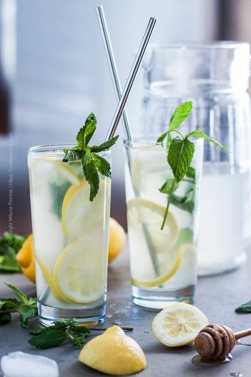 Barley water flavored with lemon juice and honey and served with fresh mint over ice.
