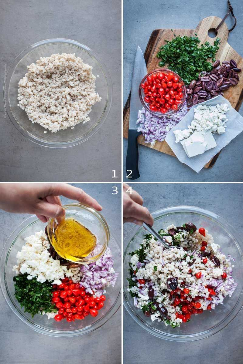 Step by step image grid showing how to assemble barley salad.
