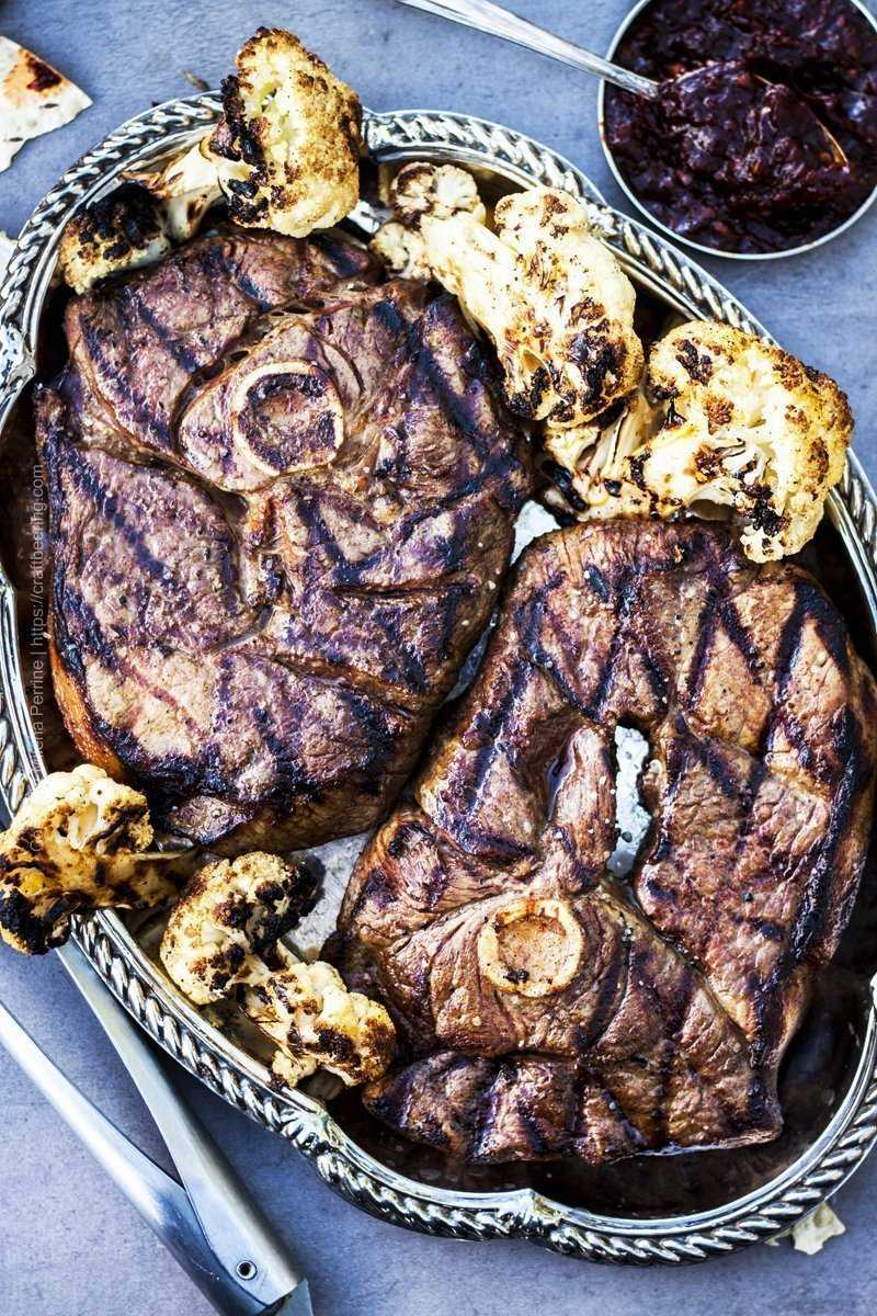 Grilled lamb steaks with curried grilled cauliflower.