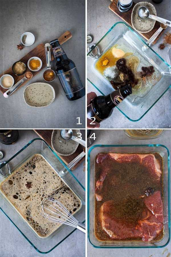 How to mix lamb marinade with spiced dark ale.