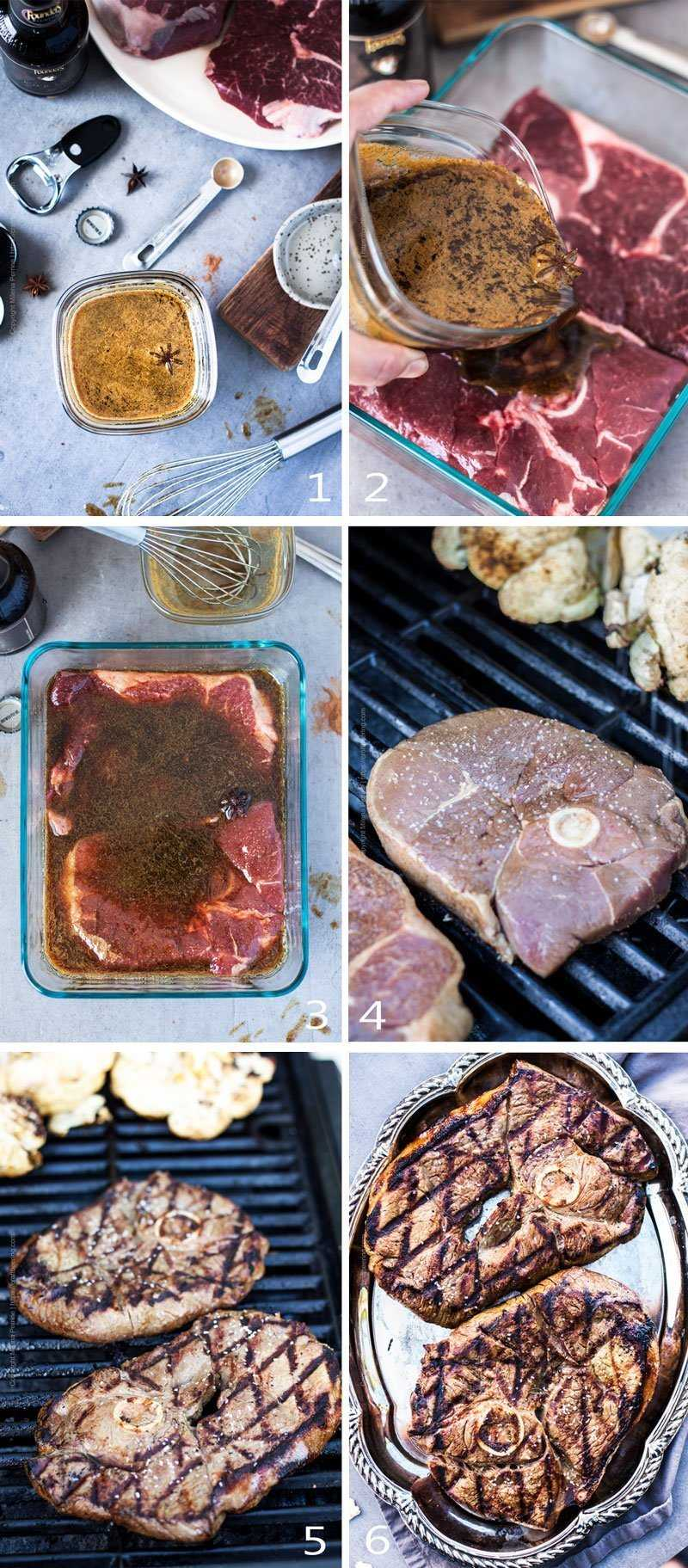 Step by step image grid showing how to marinated and grill lamb steaks