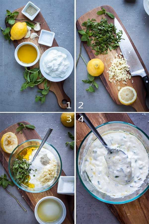 Yogurt marinade for lamb with fresh mint and lemon