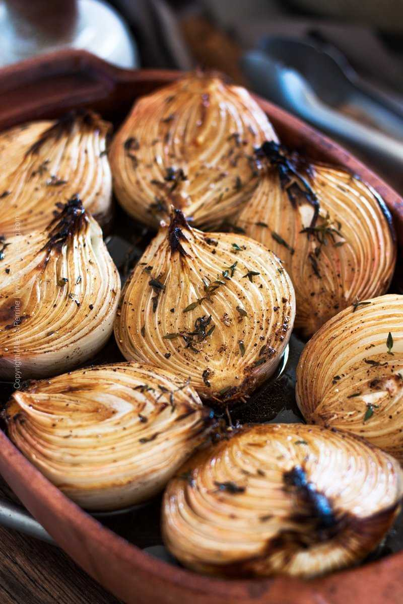 Close up shot - baked onion halves.
