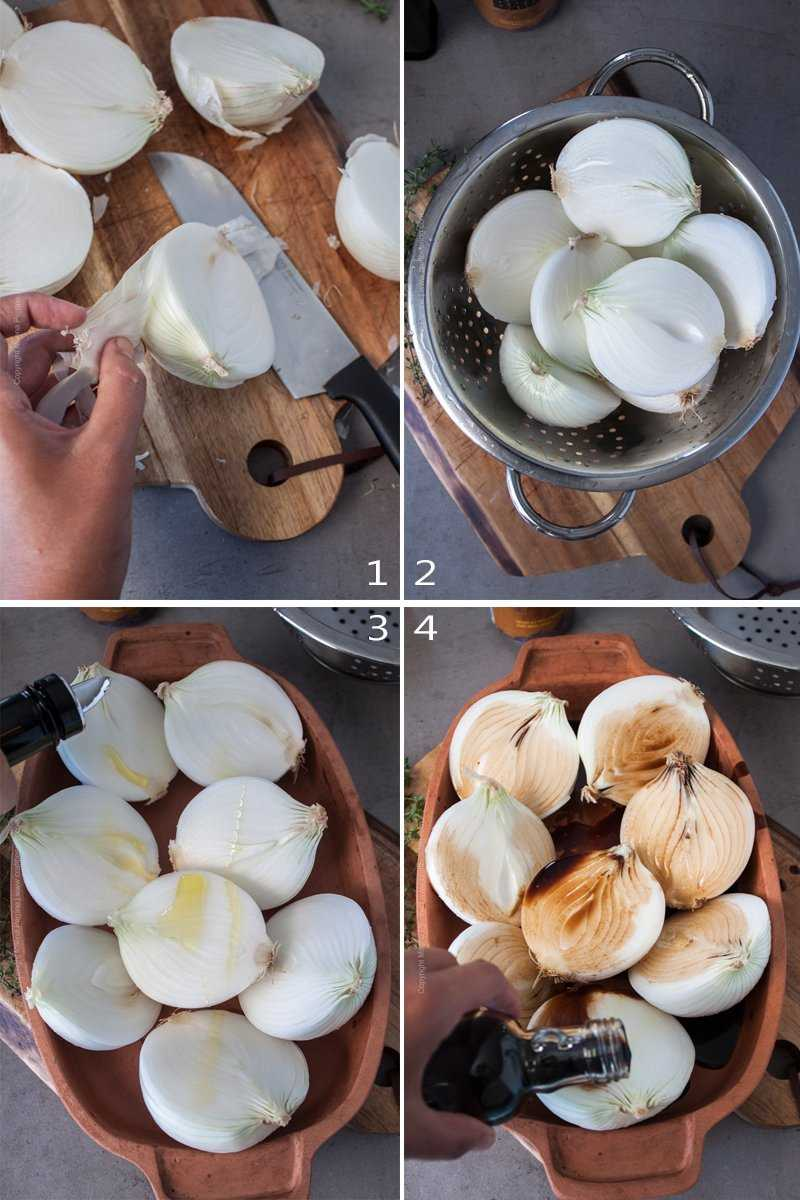 Step by step image grid - prep onions for baking.