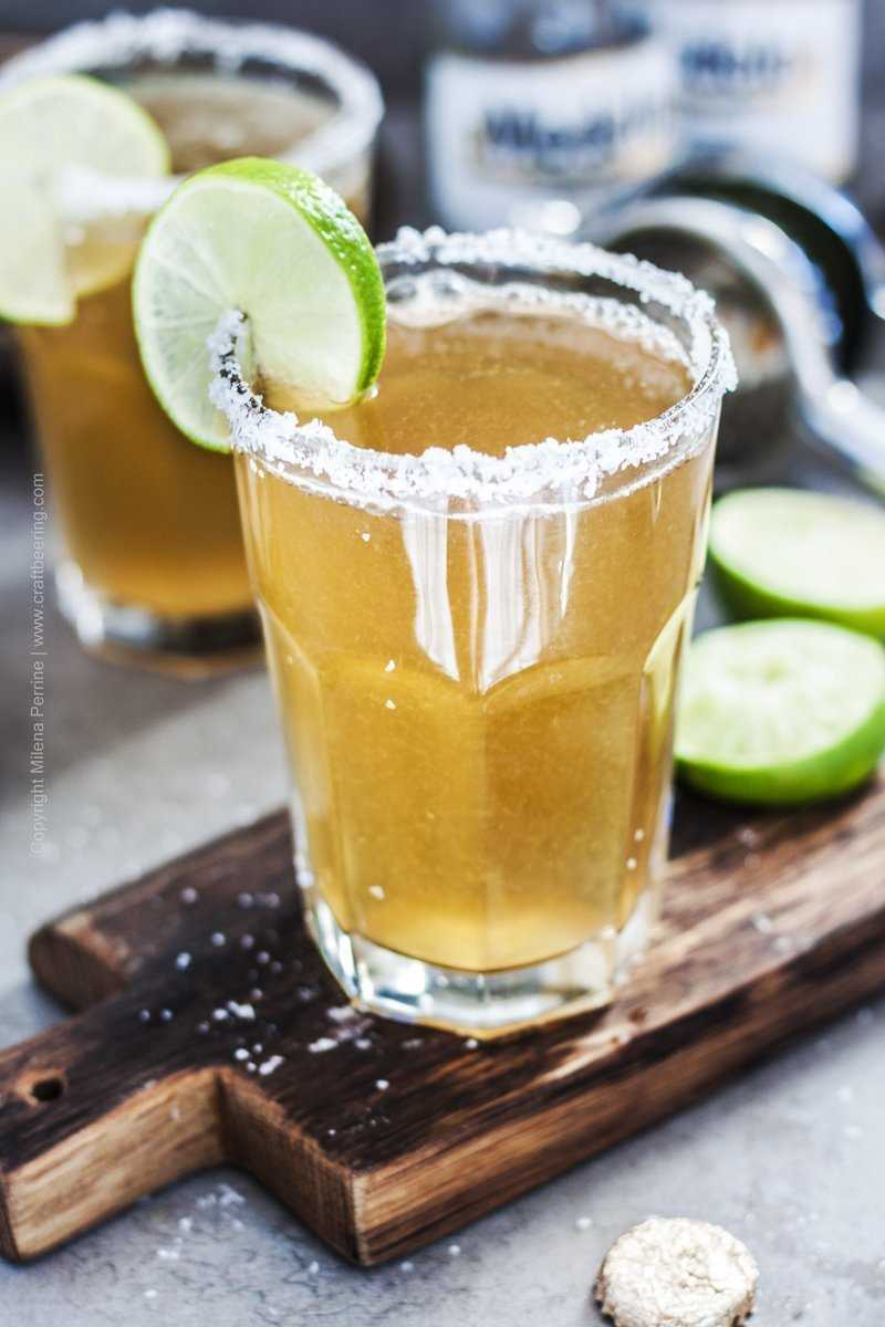 Mexican beer and lime cocktail.