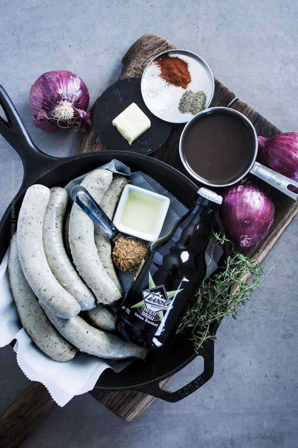 Ingredients for Braised Beer Brats
